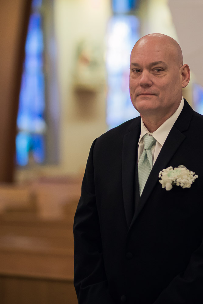 Topeka wedding photographer Great Overland Station catholic church wedding father daughter first look