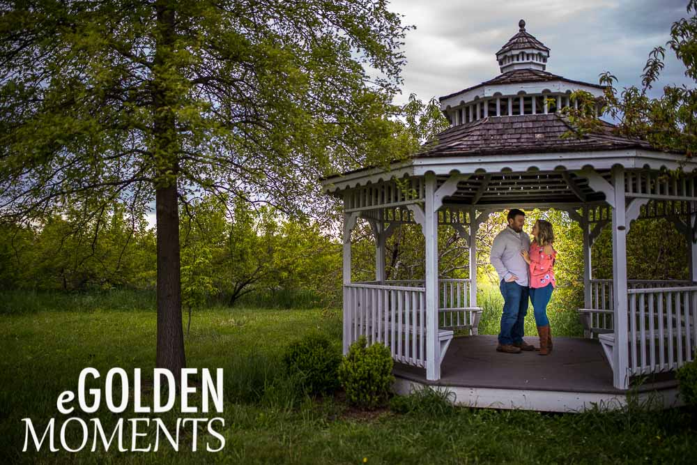 Platte City Missouri engagement session Alldredge Apple Orchard gazebo weddings