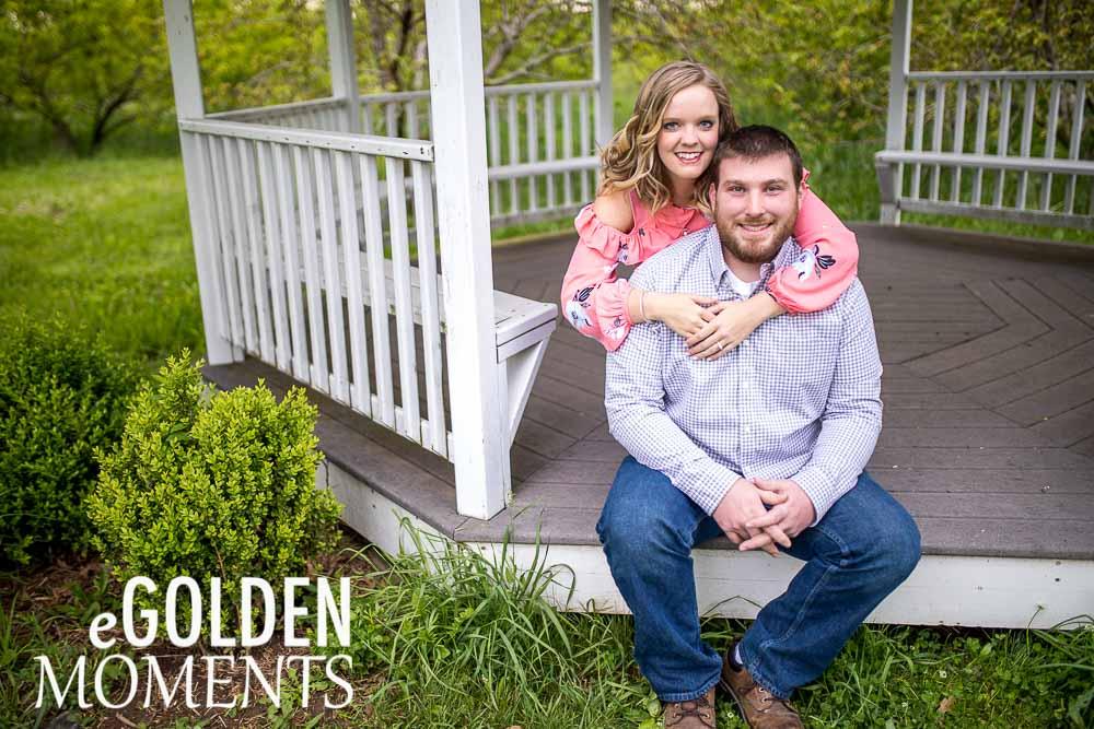 Platte City Missouri engagement session Alldredge Apple Orchard gazebo weddings couple pose