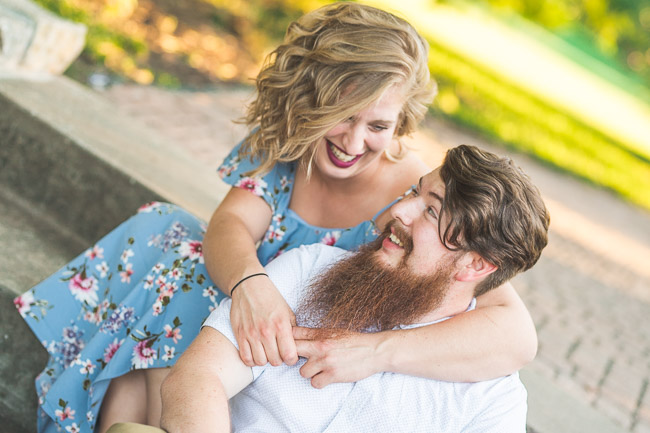 Kansas City Loose Park engagement session with sweet fun couple