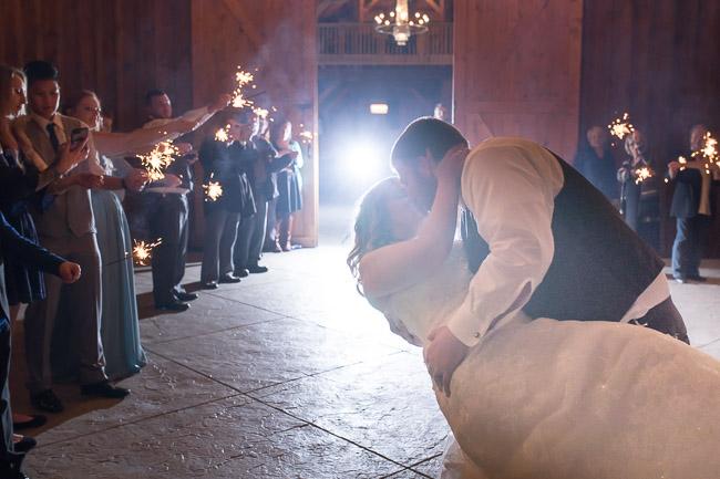 Sparkler exit at first creek farm wedding in Kansas City
