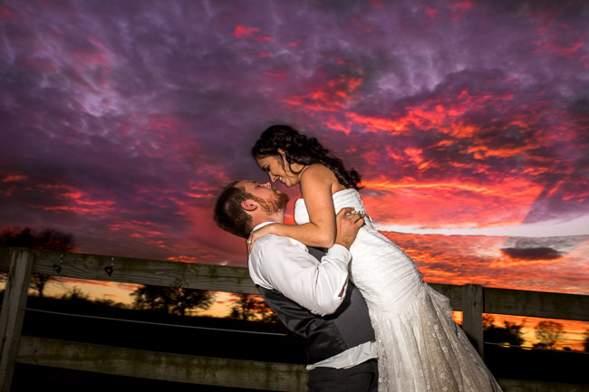 Beautiful wedding sunset at Pine Dell Horse Farm