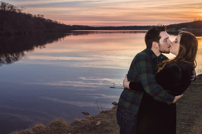 Shawnee Mission Park engagement session with a gorgeous sunset
