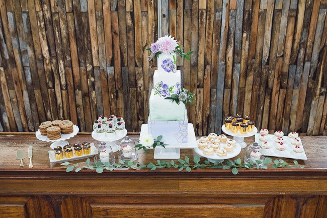 Wedding cake by Petals and Pastries in Kansas City